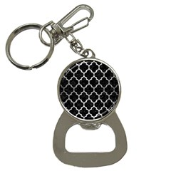 Tile1 Black Marble & Silver Brushed Metal Bottle Opener Key Chain by trendistuff