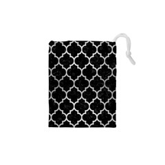 Tile1 Black Marble & Silver Brushed Metal Drawstring Pouch (xs)