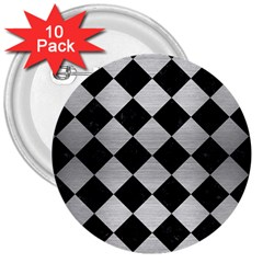 Square2 Black Marble & Silver Brushed Metal 3  Button (10 Pack) by trendistuff
