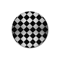 Square2 Black Marble & Silver Brushed Metal Magnet 3  (round) by trendistuff