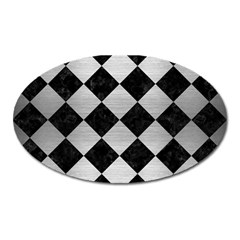 Square2 Black Marble & Silver Brushed Metal Magnet (oval) by trendistuff