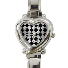 Square2 Black Marble & Silver Brushed Metal Heart Italian Charm Watch by trendistuff