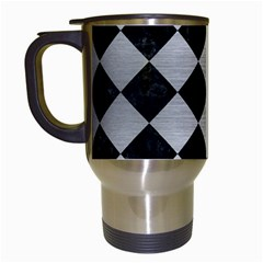 Square2 Black Marble & Silver Brushed Metal Travel Mug (white) by trendistuff