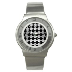 Square2 Black Marble & Silver Brushed Metal Stainless Steel Watch by trendistuff