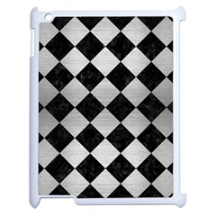 Square2 Black Marble & Silver Brushed Metal Apple Ipad 2 Case (white) by trendistuff