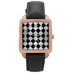 Square2 Black Marble & Silver Brushed Metal Rose Gold Leather Watch  by trendistuff