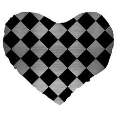 Square2 Black Marble & Silver Brushed Metal Large 19  Premium Flano Heart Shape Cushion by trendistuff
