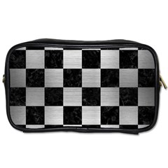 Square1 Black Marble & Silver Brushed Metal Toiletries Bag (two Sides) by trendistuff