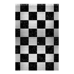 Square1 Black Marble & Silver Brushed Metal Shower Curtain 48  X 72  (small) by trendistuff