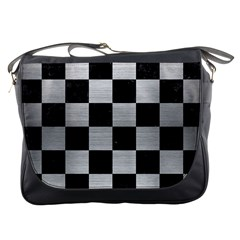 Square1 Black Marble & Silver Brushed Metal Messenger Bag by trendistuff
