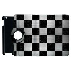 Square1 Black Marble & Silver Brushed Metal Apple Ipad 2 Flip 360 Case by trendistuff