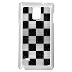 Square1 Black Marble & Silver Brushed Metal Samsung Galaxy Note 4 Case (white) by trendistuff