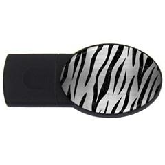 Skin3 Black Marble & Silver Brushed Metal (r) Usb Flash Drive Oval (4 Gb) by trendistuff