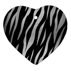 Skin3 Black Marble & Silver Brushed Metal Heart Ornament (two Sides) by trendistuff