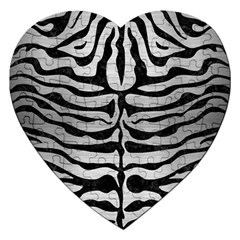 Skin2 Black Marble & Silver Brushed Metal (r) Jigsaw Puzzle (heart)