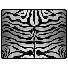 Skin2 Black Marble & Silver Brushed Metal (r) Fleece Blanket (large) by trendistuff