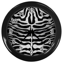 Skin2 Black Marble & Silver Brushed Metal Wall Clock (black) by trendistuff
