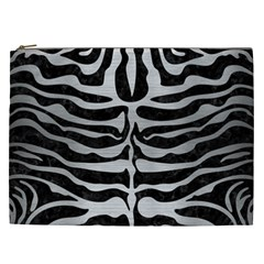 Skin2 Black Marble & Silver Brushed Metal Cosmetic Bag (xxl) by trendistuff