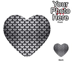 Scales3 Black Marble & Silver Brushed Metal (r) Multi Purpose Cards (heart)