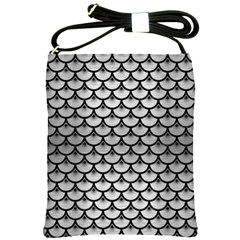 Scales3 Black Marble & Silver Brushed Metal (r) Shoulder Sling Bag by trendistuff