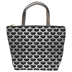 Scales3 Black Marble & Silver Brushed Metal Bucket Bag
