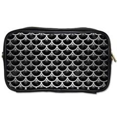 Scales3 Black Marble & Silver Brushed Metal Toiletries Bag (two Sides) by trendistuff
