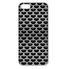 Scales3 Black Marble & Silver Brushed Metal Apple Seamless Iphone 5 Case (clear) by trendistuff