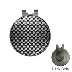 Scales2 Black Marble & Silver Brushed Metal (r) Golf Ball Marker Hat Clip by trendistuff