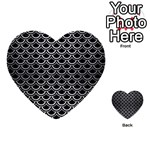 SCALES2 BLACK MARBLE & SILVER BRUSHED METAL Multi-purpose Cards (Heart) Back 1