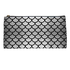 Scales1 Black Marble & Silver Brushed Metal (r) Pencil Case by trendistuff