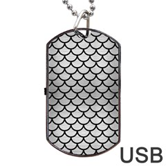 Scales1 Black Marble & Silver Brushed Metal (r) Dog Tag Usb Flash (one Side) by trendistuff
