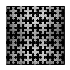 Puzzle1 Black Marble & Silver Brushed Metal Tile Coaster by trendistuff