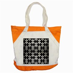 Puzzle1 Black Marble & Silver Brushed Metal Accent Tote Bag by trendistuff
