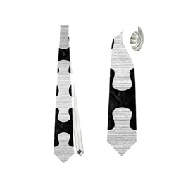Puzzle1 Black Marble & Silver Brushed Metal Necktie (one Side)