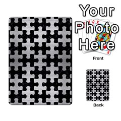 Puzzle1 Black Marble & Silver Brushed Metal Multi Purpose Cards (rectangle)
