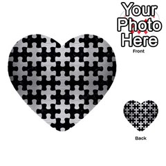 Puzzle1 Black Marble & Silver Brushed Metal Multi Purpose Cards (heart) by trendistuff