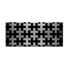 Puzzle1 Black Marble & Silver Brushed Metal Hand Towel by trendistuff
