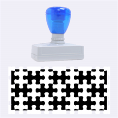 Puzzle1 Black Marble & Silver Brushed Metal Rubber Stamp (large)