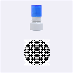 Puzzle1 Black Marble & Silver Brushed Metal Rubber Stamp Round (small) by trendistuff