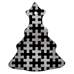 Puzzle1 Black Marble & Silver Brushed Metal Christmas Tree Ornament (two Sides) by trendistuff