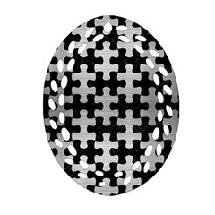 Puzzle1 Black Marble & Silver Brushed Metal Ornament (oval Filigree) by trendistuff