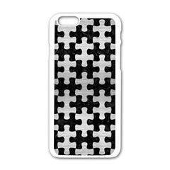 Puzzle1 Black Marble & Silver Brushed Metal Apple Iphone 6/6s White Enamel Case by trendistuff