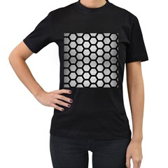Hexagon2 Black Marble & Silver Brushed Metal (r) Women s T Shirt (black) (two Sided) by trendistuff