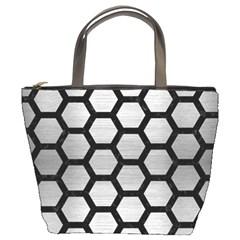 Hexagon2 Black Marble & Silver Brushed Metal (r) Bucket Bag