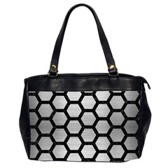 Hexagon2 Black Marble & Silver Brushed Metal (r) Oversize Office Handbag (2 Sides) by trendistuff