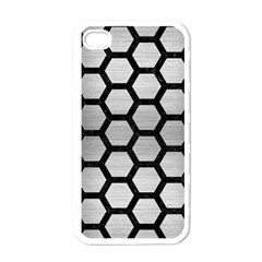 Hexagon2 Black Marble & Silver Brushed Metal (r) Apple Iphone 4 Case (white) by trendistuff