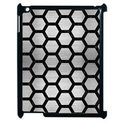 Hexagon2 Black Marble & Silver Brushed Metal (r) Apple Ipad 2 Case (black) by trendistuff