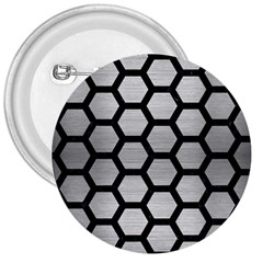 Hexagon2 Black Marble & Silver Brushed Metal 3  Button by trendistuff