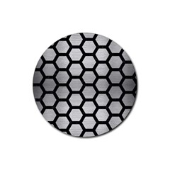 Hexagon2 Black Marble & Silver Brushed Metal Rubber Round Coaster (4 Pack) by trendistuff