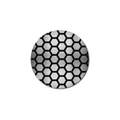 Hexagon2 Black Marble & Silver Brushed Metal Golf Ball Marker (10 Pack) by trendistuff